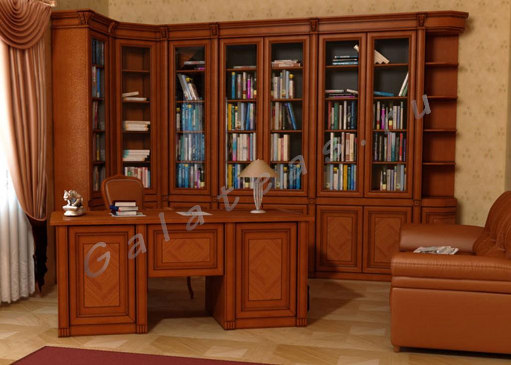 Библиотека элегия полностью из дерева на заказ.