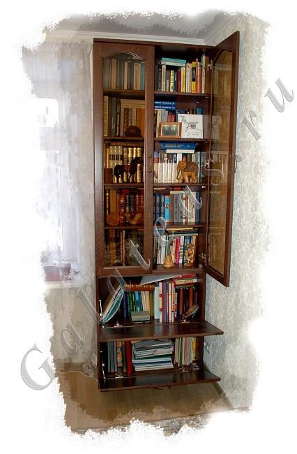 Книжный шкаф по эскизу из массива с откидными дверками.