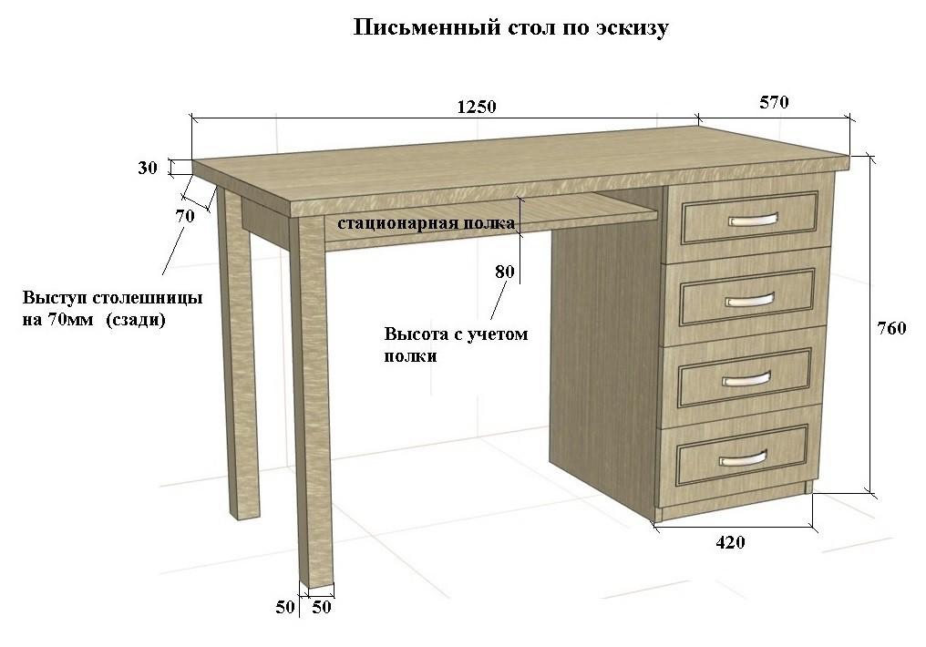 Письменный стол из массива с тумбой и с квадратными ножками .